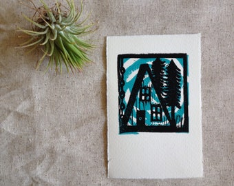 linoprint, blockprint, artprint, linocut print, 3.5 x 5.25 inch, handprinted, handpulled, handcarved, illustration, a frame, camping