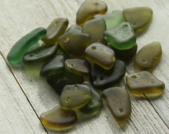 Authentic Bulk sea glass - Drilled sea glass - Sea glass crafts - Beach glass for jewelry making -  Sea glass Charms - Gift beach lover