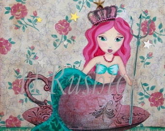 Mermaid Queen - Tea Decor- Mermaid Decor- Mermaid Wall Art -Tea Art - Mixed Media Art- Print Sizes 11x14 or 16x20  by HRushton