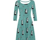 Anne Boleyn skater dress long sleeves teal dress fitted stretchy fit and flare tudor queen Henry VIII six wives size xs s m l xl xxl raven