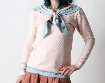 Light pink sweater, Womens sweater with sailor scarf, Womens clothing, Pale pink and pale blue womens sweatshirt, Womens sweaters, MALAM