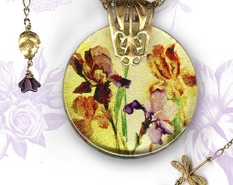 Iris Watercolor Dragonfly Necklace - Reversible Glass Art Necklace - Nouveau Jardin Collection - Golden Shimmery Purple Iris Necklace