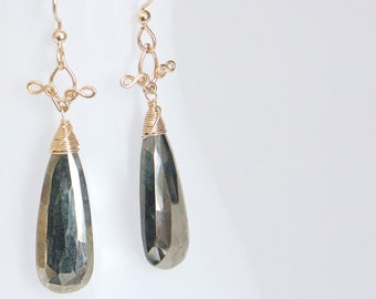 Lucia - Pyrite and 14k Gold Filled Long Drop Earrings