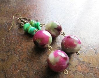 Vine Ripe Glass Antique Brass Dangle earrings