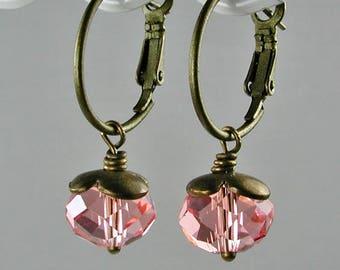 Rose Pink Crystal and Bronze Hoop Earrings