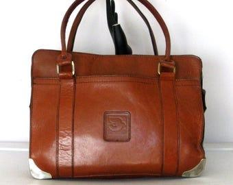 Vintage 70s Brown Leather Shoulder Bag Purse Square Bag Silver Tips