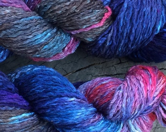 "100% Pima cotton yarn - ice dyed ""Swordfish"" - aran weight - in stock, ready to ship!"