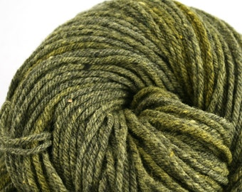Hand Dyed Aran weight mini Empire Rambouillet Wool 213 yds 4oz Lemondrop