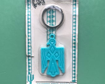 NOS Southwest Indian Foundation Thunderbird Key Ring • Keychain • Turquoise • Indian Lore • Native American  • Southwestern