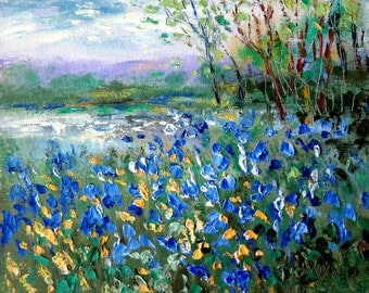 Blue Bonnets, poppies and  Pond   print - 8 x 10 photo prints buy 2 get 1 free