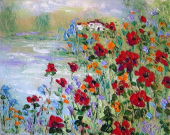 Poppy House and Pond- 20 x 16 x 1 - canvas Giclee Print