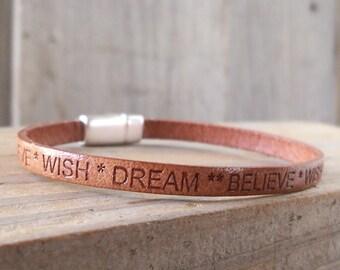 Inspirational Bracelet - Leather Bracelet - Boho Bracelet - Motivational Bracelet - Dream - Believe - Wish - Inspirational Leather Jewelry