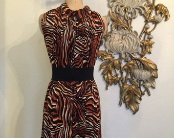 Fall sale 1960s dress tent dress tiger print dress size medium vintage dress novelty print dress sleeveless dress