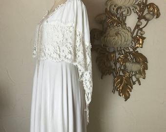 1970s dress white dress bohemian dress casual wedding size medium cap dress maxi dress vintage dress