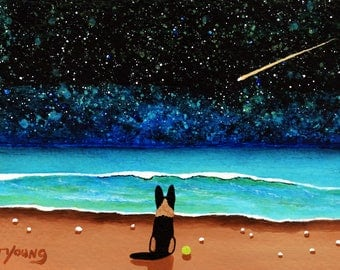 German Shepherd Dog Seascape LARGE Folk Art Print of Todd Young painting NIGHT STARS