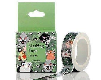 Cat Washi Tape, Animal Washi Tape, Adorable Green Kawaii Cat Washi Tape for Crafts and Scrapbooking, 1 Roll Kitten Washi tape
