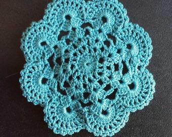 "New Handmade Crocheted ""Eight Shells"" Coaster/Doily in River Blue"
