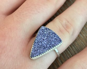 Sterling Silver and Purple Drusy Ring