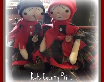 Primitive Snowman Couple Wynter and Whittaker Winter Holiday ePATTERN #169 Instant Download