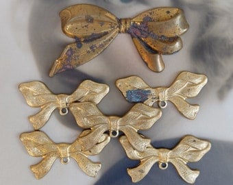 Vintage Brass 7 pc Stamping Bow Finding Supply