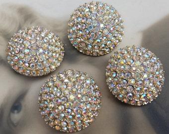 4 Vintage Large Buttons Metal Rhinestones Aurora Borealis
