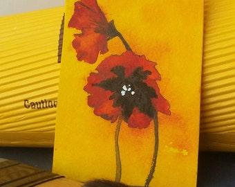 Poppy Miniature, Original, Sunlit Flower, Painting, Poppy Mini Art, Collectible Art, Charming Flower, Gift for Nana, Mother, Wife Love Gift