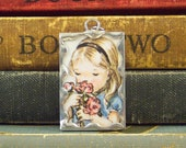 Tasha Tudor Pendant Girl Smelling Flowers - Tasha Tudor Book Vintage Illustration - Flower Girl Pendant - Tasha Tudor Jewelry - Book Charm