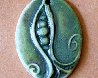 Pea Pod Pendant -Handmade  Ceramic Bead - Large Oval Focal Bead made of Stoneware - Earthy Green Spring Pea - Stoneware Garden Jewelry