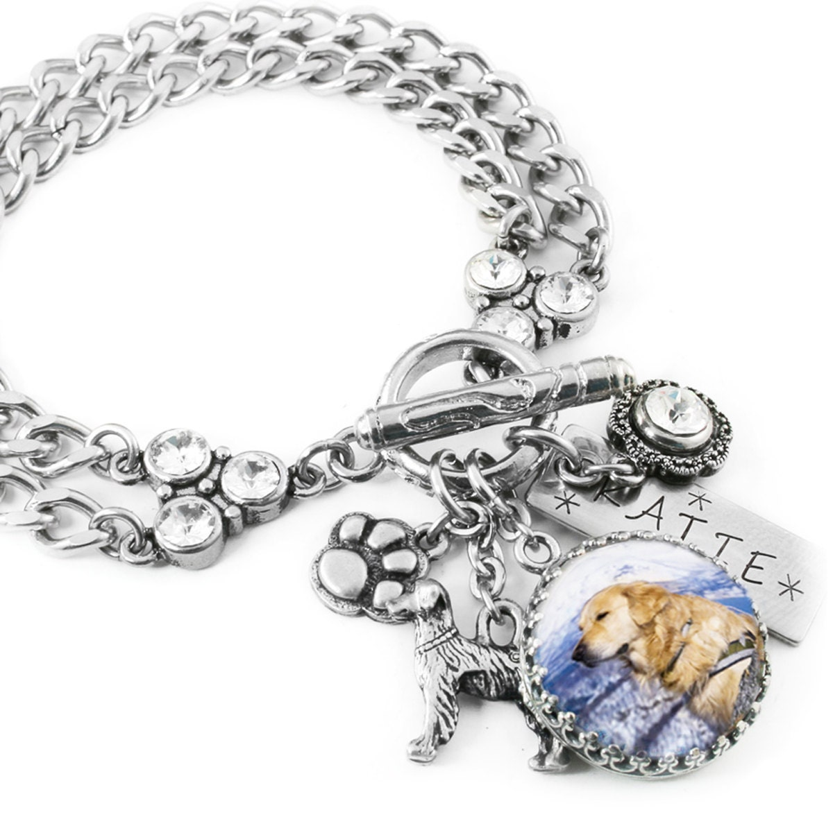 Personalized Bracelet Charms: Personalized Dog Jewelry Dog Charm Bracelet Personalized