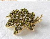 20% SALE Vintage Olivine Rhinestone Maple Leaf Brooch Green Costume Jewelry Accessory Pin