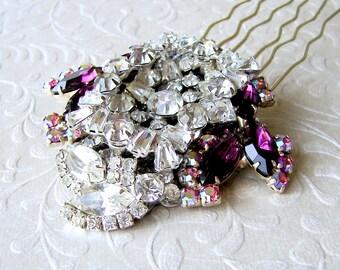 Mulberry Purple Rhinestone Bridal Hair Comb Wedding Hairpiece Formal Headpiece Ballroom Jewelry Pageant Costume Accessory Gatsby Downton