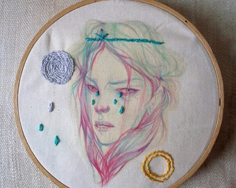 Sun + Moon, an embroidered drawing