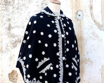 ON SALE 20% Vintage 1970/1980black and white wool cape plaid inside embroidered  folk  Boho size S/M/L