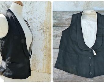 Vintage Antique 1900/1930  men Tuxedo vest black wool  size SX/S