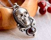 SOLD -------------------------Silver Skull Necklace, Hand Cast Silver Skull Jewelry, Boho Style Jewelry, Gothic Silver Jewelry