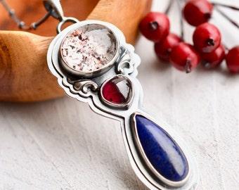 Strawberry Quartz Necklace, Lapis Lazuli Pendant, Rhodolite Garnet Necklace, Handmade Jewelry, Metalsmithed Jewelry, Gemstone Jewelry