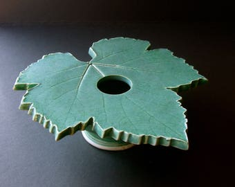 Seafoam Grape Leaf Vase, Handmade Pottery, Ceramic Ikebana Vessel, Leaf Vase, Kiln-Fired Pottery