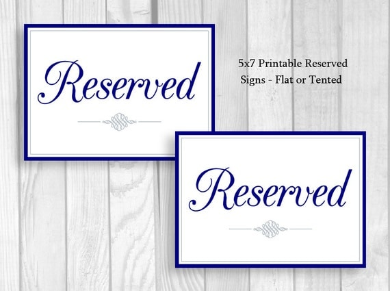 Printable 5x7 Wedding Reserved Table Signs In Navy Blue White