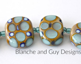 Artisan Lampwork Glass Bead Set in Taupe Brown Cobalt Blue and Turquoise Blue For Jewelry Making Design