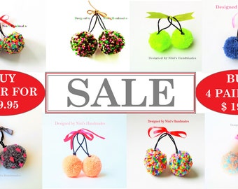 SALE- Buy 4 Pairs of Reusable Pom Pom Ponytail holder Hair Ties for 19.95 Super Deal, Party favors, Spring Summer Hair ties, Colorful hair