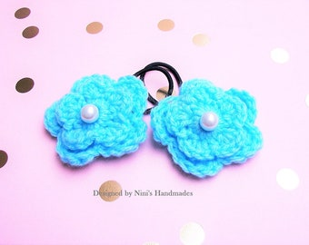 Reusable Versatile Aqua Crochet Flower Ponytail Holder Hair Tie, crochet aqua flower hair accessories, hair accessories, aqua party favor