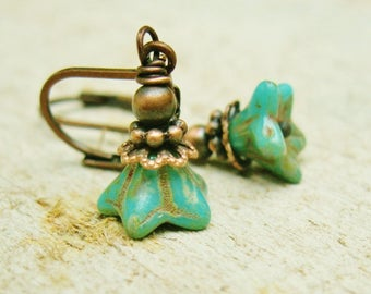 Antiqued Copper and Picasso Czech Glass Aqua Flower bead dangle earrings