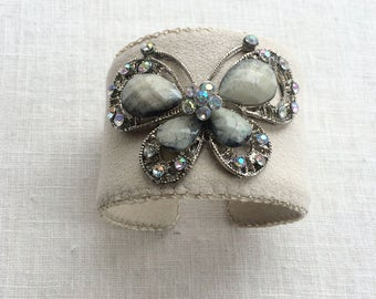 Pale Cappucino Adjustable Cuff Bracelet with Butterfly