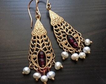 Solid Rose gold Earrings, Garnet earrings, chandelier gold earrings, bridal earrings, fresh water pearl earrings, boho - The temple EG0795