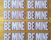8 BE MINE VALENTINE Cards Red and White Hand Printed Letterpress Prints 8 pack valentines day gift