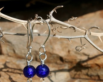 Cobalt Blue Small Murano Glass Beads on Handcrafted Sterling Silver Earrings