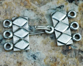 Sterling Silver 3 Strand Hook and Eye Clasp ~ 15x33mm