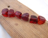 Rustic Strand of Transparent  Cherry Jelly Red Cullet Glass Large Random Rough Cut Chunks set of six