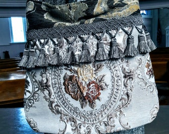 Pretty spring boho bag in Creams and gray