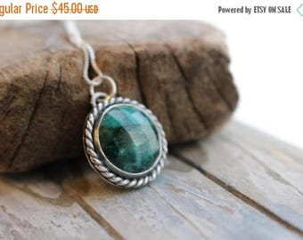 20% OFF Sale Green Emerald Sterling Silver Necklace - May birthstone necklace